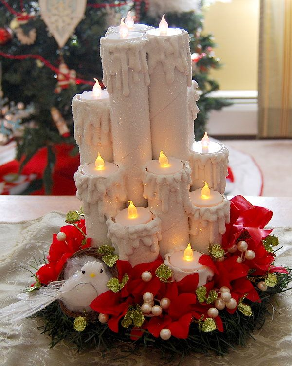 toilet tubes, paper tubes, paper towel tubes, recycling, hot glue, decor, home decot, DIY, handmade, homemade, centerpiece, candles, poinsettia