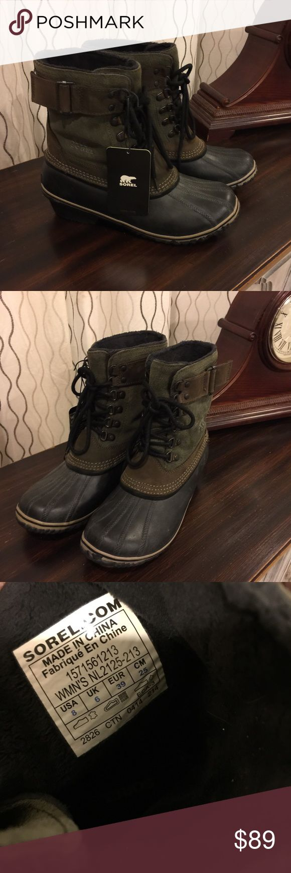 Sorel Fancy Lace ll green size 8 Fits 7 new New with box sorel boots. They run a size small. I wear an 8 but these will fit a size 7. Selling for that reason never worn, smoke free home they have tried on :) Sorel Shoes Winter & Rain Boots