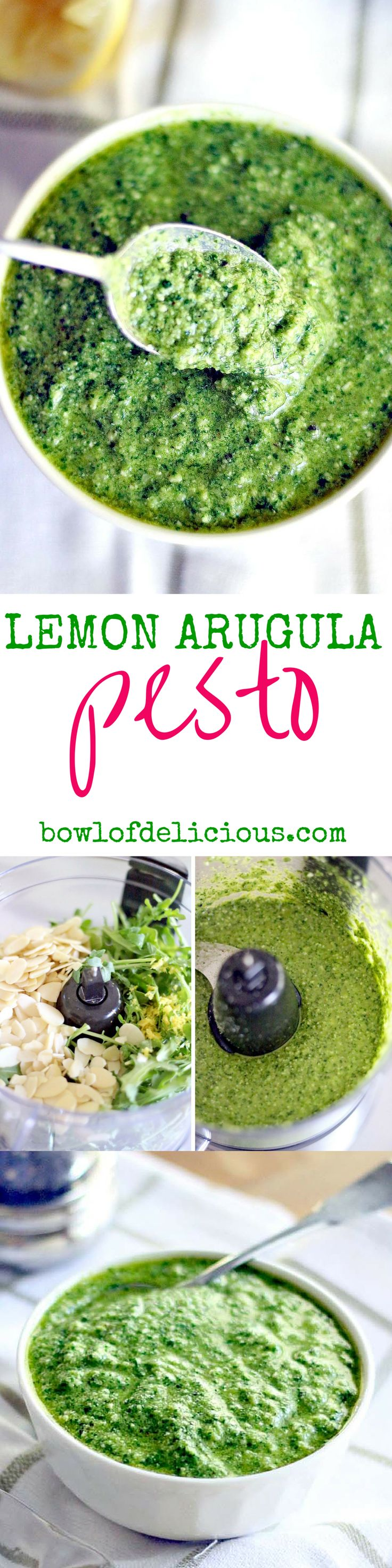 This Lemon Arugula Pesto comes together in five minutes! It's healthy, peppery, bright, fresh, and has a little bit of a kick to it! Vegan, vegetarian, real food, whole, clean, and unprocessed. YUM.