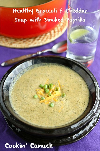 Healthy Broccoli & Cheddar Soup Recipe with Smoked Paprika