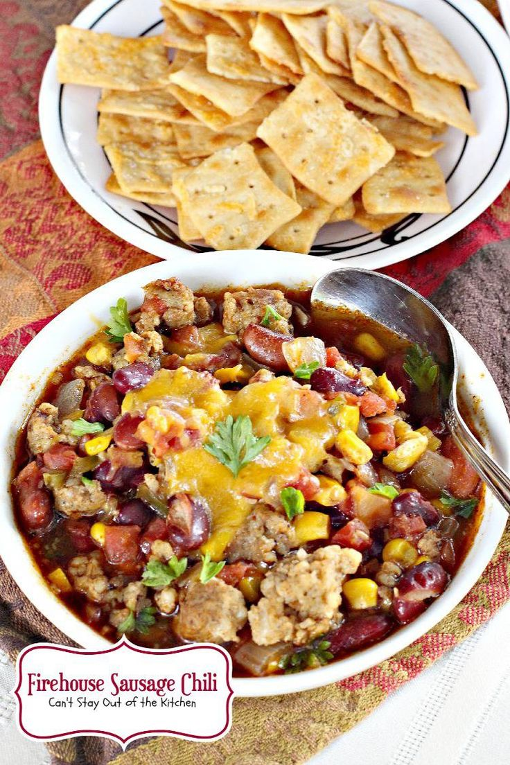 Firehouse Sausage Chili has sausage, kidney beans, corn, diced tomatoes & green chilies. It's bursting with flavor & great comfort food. Gluten free.