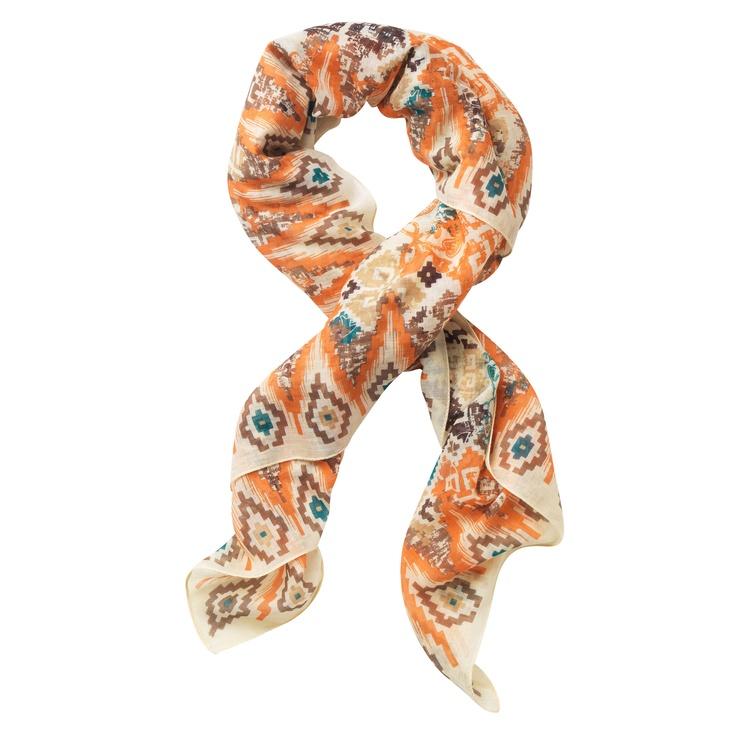 Vierkante sjaal in voile met ethnische print