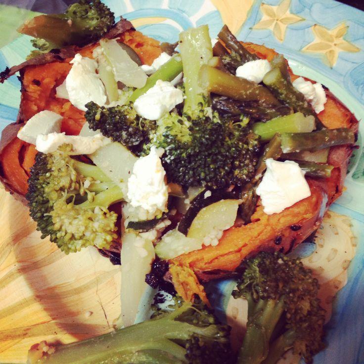 ... roasted veggies (broccoli, zucchini, asparagus, onion, garlic), goat