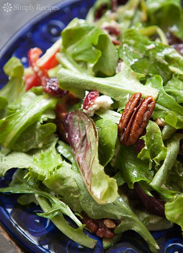 Mixed Green Salad with Pecans, Goat Cheese, and Honey Mustard Vinaigrette Recipe | SimplyRecipes.com