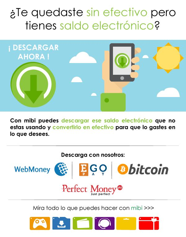Pasa a efectivo tu saldo Bitcoin, PerfectMoney, WebMoney, EgoPay. Ingresa Ya! http://www.mibirecargas.com