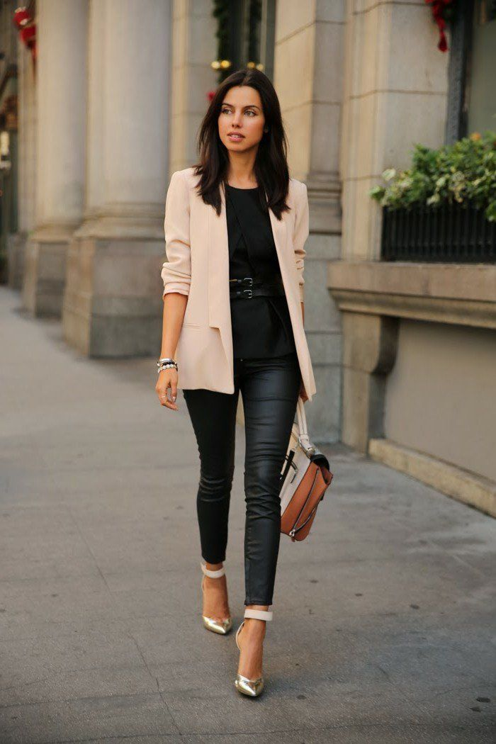 Awesome woman business attire, stylish look with a hip belt