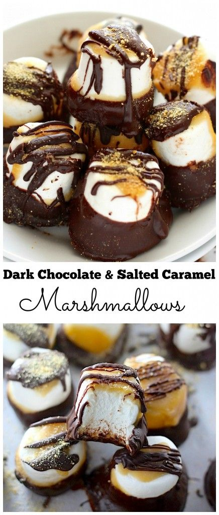 Dark Chocolate Salted Caramel Marshmallows - Quick, easy, and so delicious!