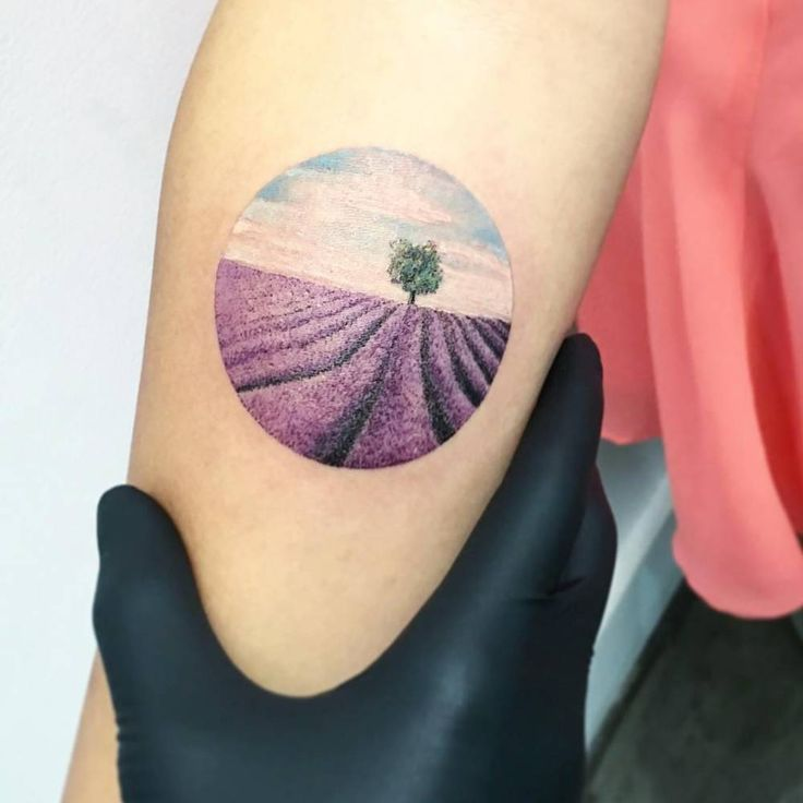 Lavender field landscape tattoo on the right inner forearm.