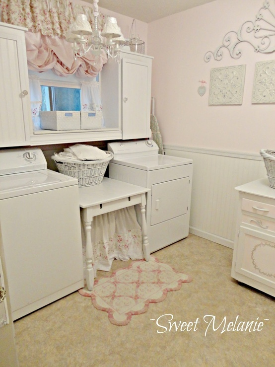 A shabby laundry room redo (from Sweet Melanie) i like it but much less pink