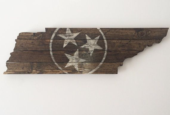 (Size shown in picture: 9 x 36)      Custom built and painted wood Tennessee flag cut out with the state flag seal painted and distressed on