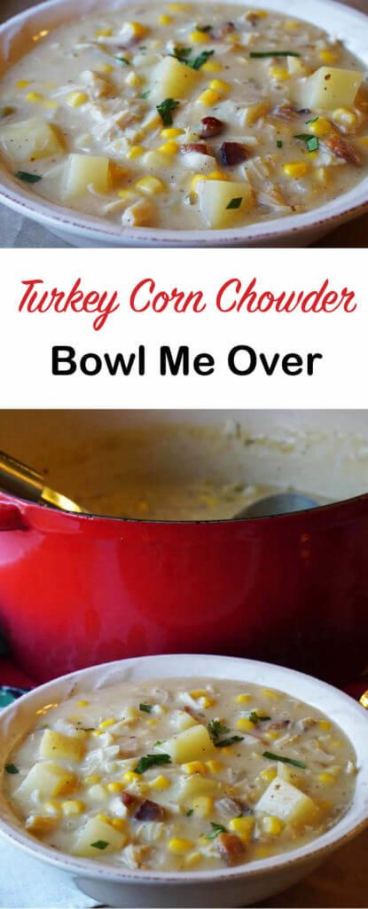 Got leftovers? Turkey Corn Chowder is an easy soup that you make from leftovers. Grab a few things items from your pantry, fridge and freezer. Dinner is done!