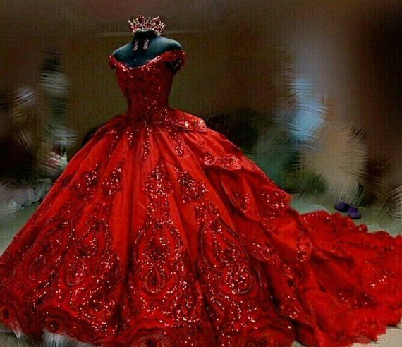 Luxury Couture Sequinned Crystal Red Wedding Dress