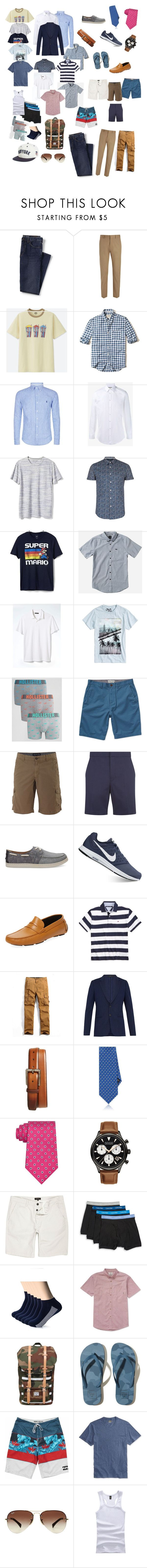 """""""X Europe"""" by swbcmd ❤ liked on Polyvore featuring Lands' End, Joseph, Uniqlo, Hollister Co., Polo Ralph Lauren, Gucci, Banana Republic, Topman, Gap and RVCA"""