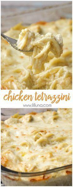 Easy and delicious Cheesy Chicken Tetrazzini - a family favorite dinner meal! { lilluna.com } halve recipe too!
