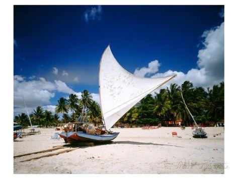 Sailing boat Jangada at Combuco Beach near Fortaleza, Ceara, Brazil Kunstdruk