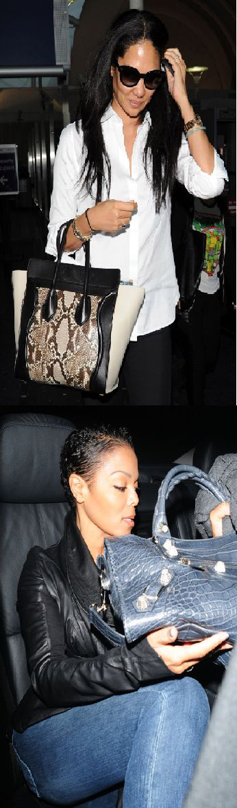 Janet Jakson with Phyton Skin Bag' #leatherbags #phytonskin