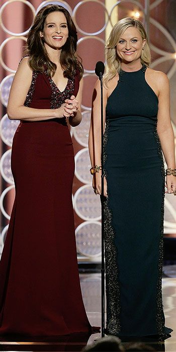 Amy Poehler in Stella McCartney and Tina Fey in Carolina Herrera at the Golden Globes