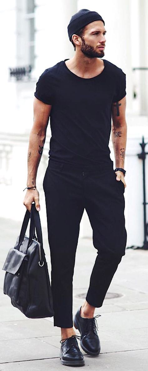 HOT Minimalist Street Style! Black from top to toe. Accesorize for a more hip effect. Follow rickysturn/mens-casual