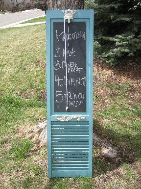 Repurpose old shutters into message center using chalkboard paint