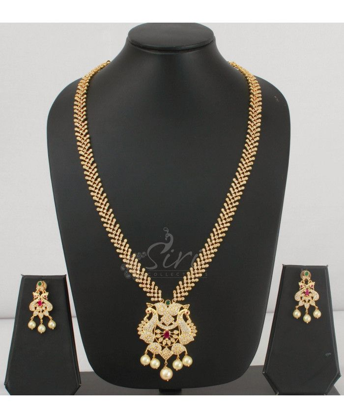 Designer AD Long Necklace Set in Peacock pendant