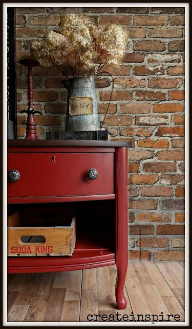 Vintage Lowboy - using General Finishes paint in Tuscan Red - via {createinspire}
