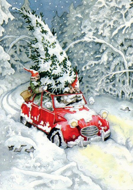 Love the ride: Inge Looks, Christmas Cards, Vintage Christmas, Old Lady, Christmas Fun, Inge Löök, Trees Home, Christmas Trees, Vintage Cards