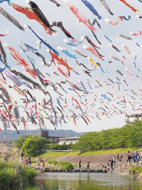Koinobori on Children's Day, May 5th, Japan***my 1st visit to Japan my 1st day there...I couldn't believe they had a day dedicated to CHILDREN! No wonder I fell in love***