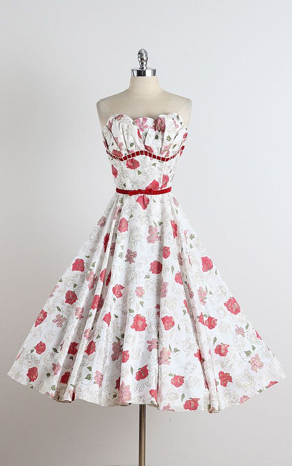French Meadow . vintage 1950s dress . vintage by millstreetvintage