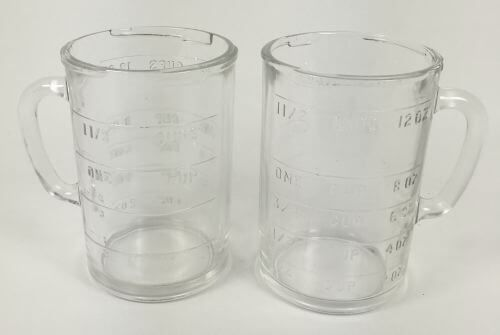 Embossed measuring cups are great, the measuring indications dont wear off.  Vintage Glass Measuring Blender Container Cups | 1 1/2 cups, set of 2 | Vintage kitchenware at shopvintagegrace.com