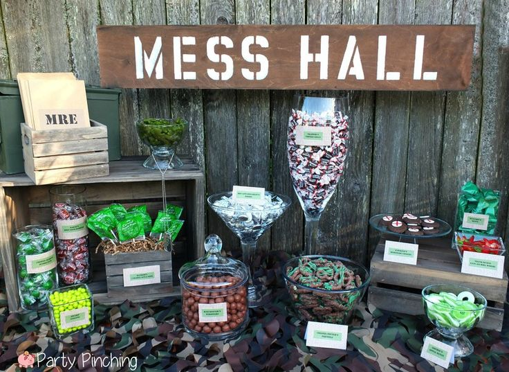Military themed birthday party ideas image inspiration for Army party decoration
