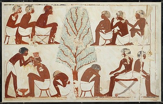 Barbering, Tomb of Userhat. New Kingdom. Dynasty 18. reign of Amenhotep II. This facsimile painting copies part of a scene in the tomb of Userhat (TT 56) at Thebes.