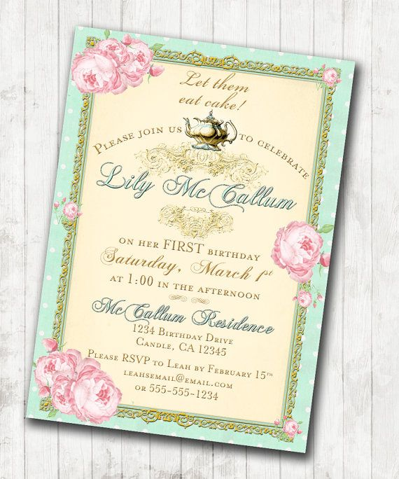 First Birthday Party In A Box In Gold Mint And Pink: 1st Birthday Tea Party Invitation