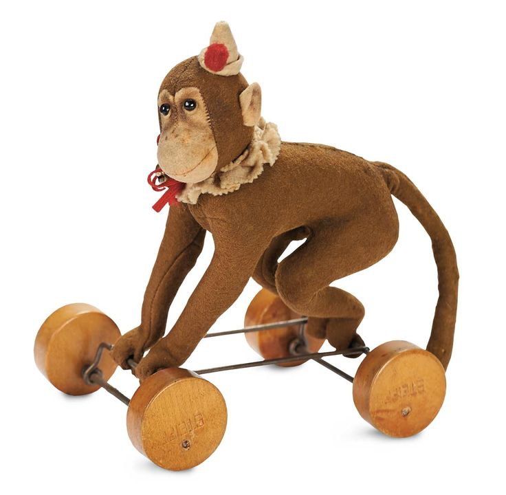 ๑ Nineteen Fourteen ๑ historical happenings, fashion, art style from a century ago - Rare Early German Pull-Toy Monkey by Steiff,1914