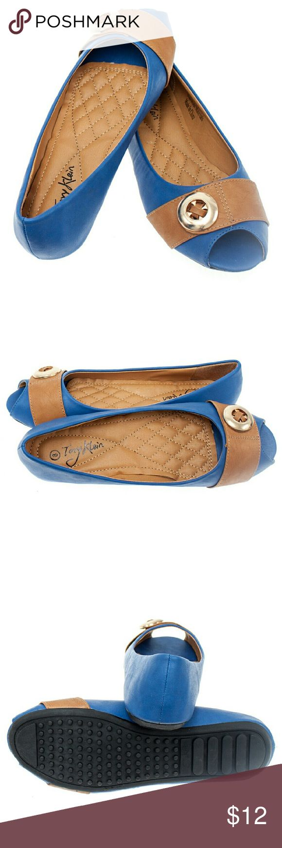 Women Open Toe Buckle Flats, b-1372, Royal Blue Brand new Tory K woman ballerina flats with a peep toe and a button-adorned strip buckle in the front. Soft cushioned sole, very comfortable, true to size. Bubbled bottom sole for extra traction. A true staple in ladies shoes fashion! Tory Klein  Shoes Flats & Loafers