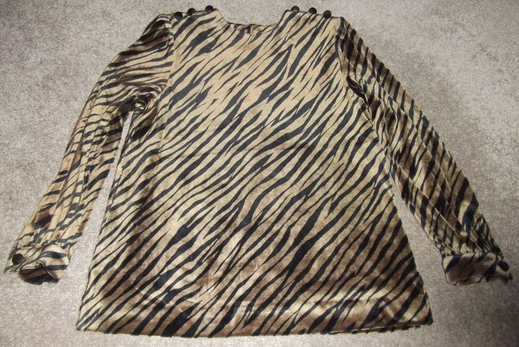 INTERVIEW LUCKY CO LTD TOKYO JAPAN VTG VELOUR TIGER ANIMAL PRINT BLOUSE TOP S/M #INTERVIEWLUCKYCOLTD #Blouse #Casual