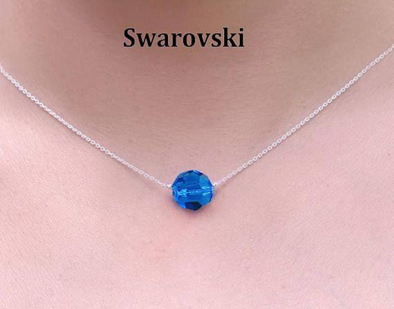 Collier ajustable avec Cristal Swarovski de couleur Bleu et