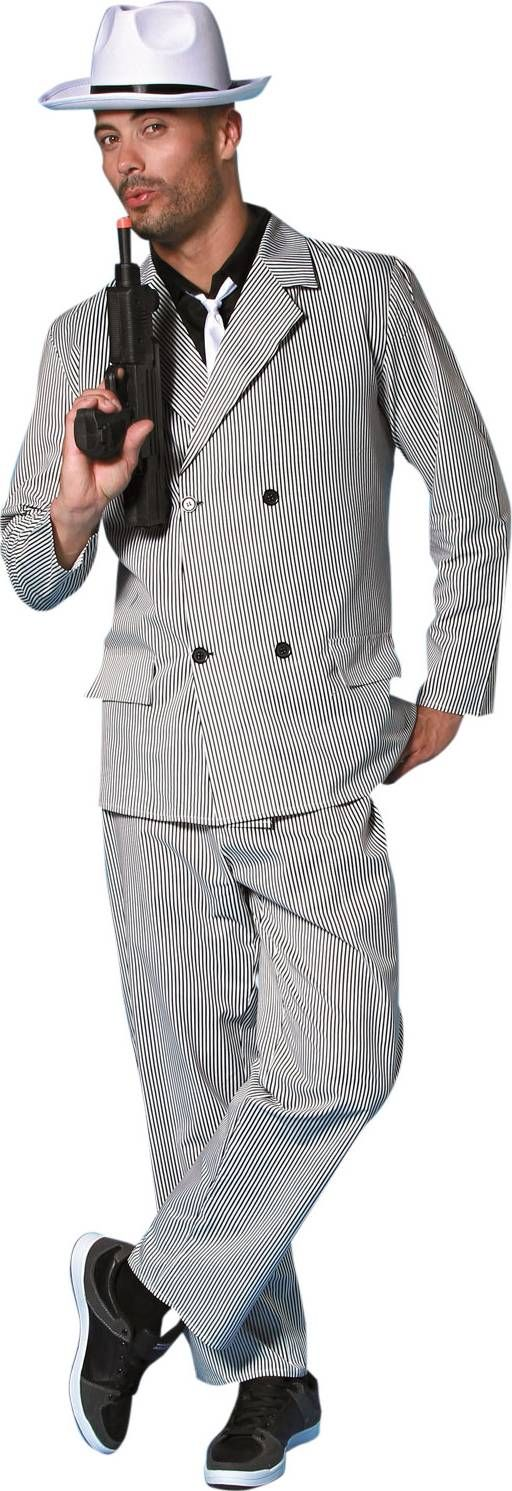 Déguisement gangster années 20 homme : Ce déguisement de gangster se compose d'un haut, d'une veste, d'un pantalon et d'une cravate (Chapeau et pistolet non inclus).Le haut est une chemise noire sans manches...