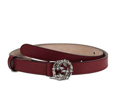 d9dfc1491b1 Gucci Womens Interlocking Crystal G Leather Skinny Belt 354380 ...