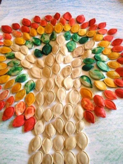 Pumpkin Seed MosaicMosaics Art, Painting Pumpkin, Crafts Ideas, Fall Crafts, Kids Activities, Kids Crafts, Fall Trees, Fall Kids, Pumpkin Seeds