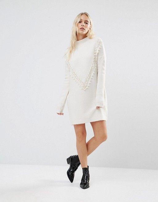 Vero Moda Petite   Vero Moda Petite – Pulloverkleid mit Spitze im Zickzackmuster