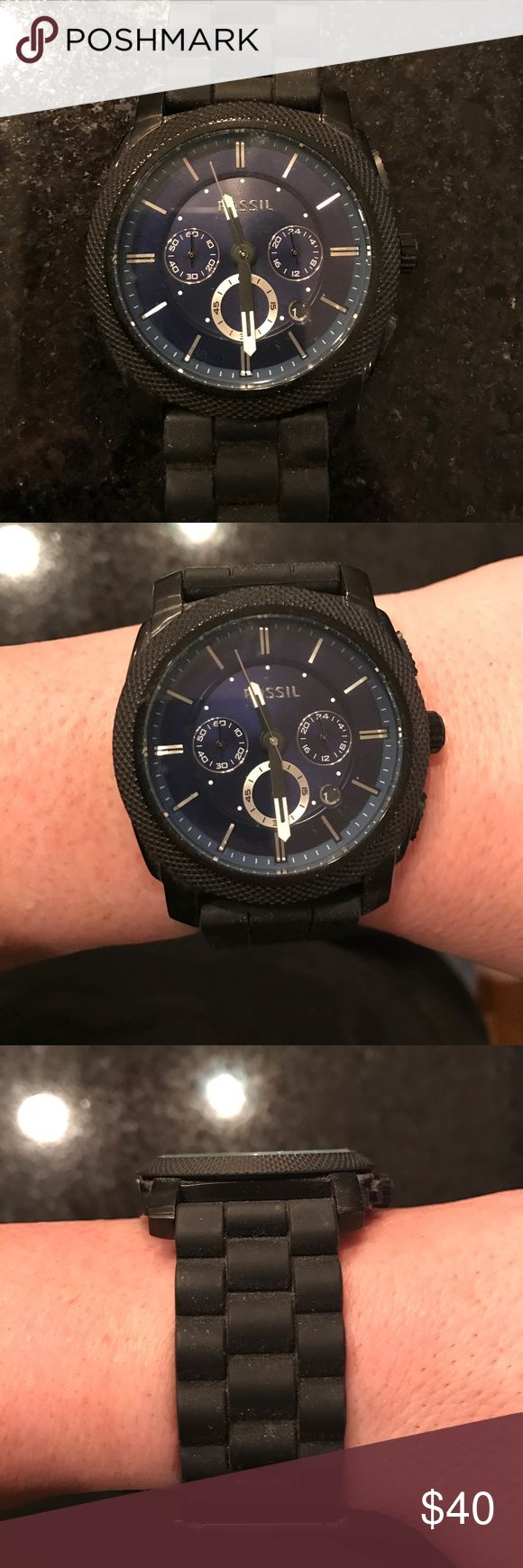 Fossil Watch with rubber band Chronograph Fossil Watch - **needs battery** comfortable rubber band Fossil Accessories Watches