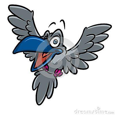 Raven bird flying cartoon illustration  image animal character