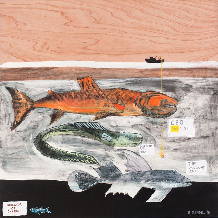 """Title: Director of Change Date: 2015 Status: Sold Medium: Acrylic and mixed media painting on plywood board Size: 1000mm x 1000mm Price: $1400 NZ Description:  """"Inspired by the poster at the local fish and chip shop this painting looks at systems of hierarchy, power  and change leadership."""" Katie Blundell Artist 2015 Contact Katie…Continue reading →"""