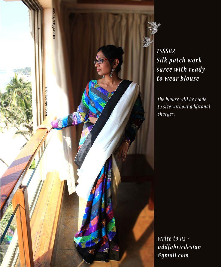 Silk patchwork saree
