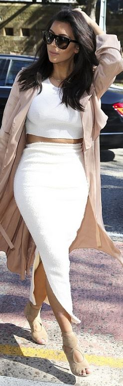 Who made Kim Kardashian's white skirt, black sunglasses, tan suede cut out…