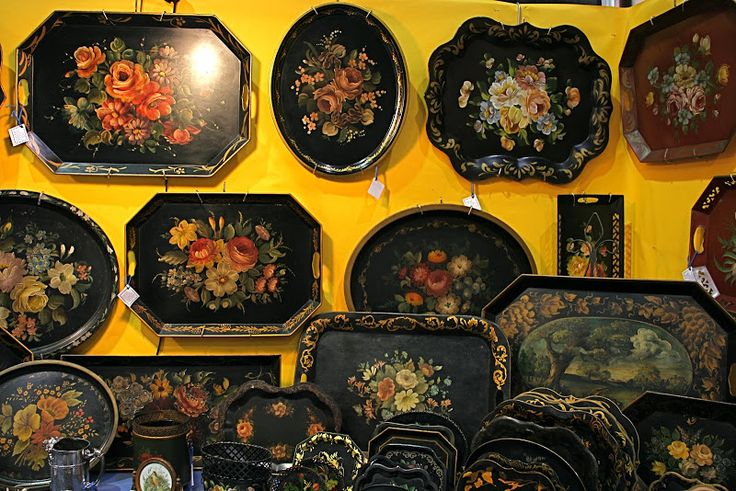 There is a dealer at the Hillsborough Antique Show who specializes in tole trays.