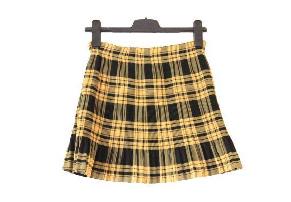 Yellow And Black Plaid Skirt