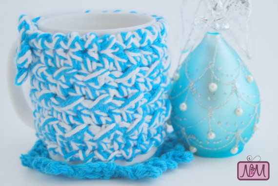 Crochet Blue Coffee Mug Cozy Coffee Mug by NiftyMumzyDesigns