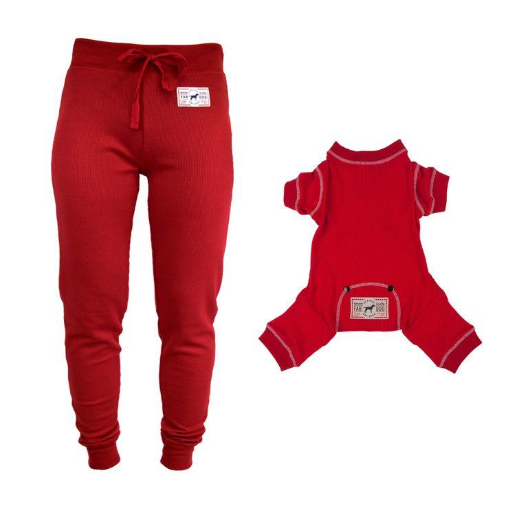 Matching Dog + Human Thermal Pajamas, Thermal Dog Pajamas, Dog Pajama Gift Set, Red Thermal PJs