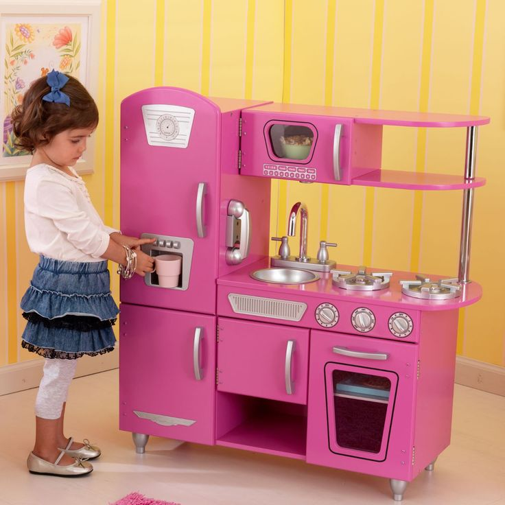 Bubblegum Pink KidKraft Vintage Play Kitchen Playset Retro Kids Children  Pretend